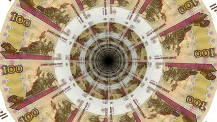 Background from Russian ruble banknotes in perspective view