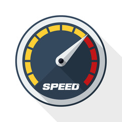 Speedometer icon with long shadow on white background