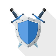 Shield and Sword icon with long shadow on white background