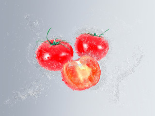Ripe tomatoes falling into fresh clean water