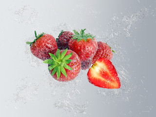 Strawberries with dynamic water splash and bubbles