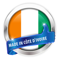 made in cote d ivoire silver badge on white background