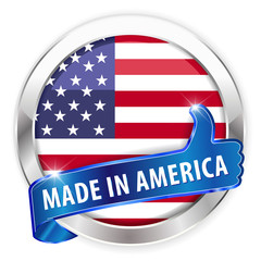 made in america silver badge on white background
