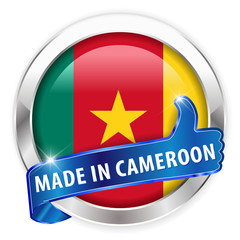 made in cameroon silver badge on white background