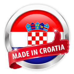 made in croatia silver badge on white background