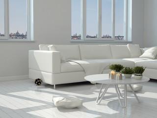 Weisser Tisch und Sofa in einem Wohnzimmer