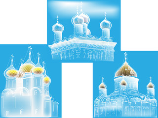 three orthodox church sketches on blue background