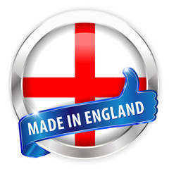 made in england silver badge  on white background