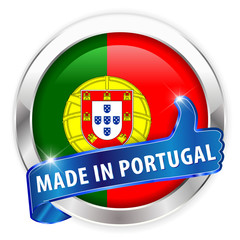 made in portugal silver badge on white background