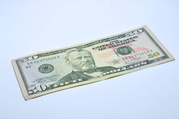 American 50  U.S. dollars on a white background