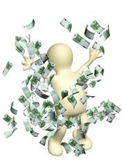 Happy puppet with money