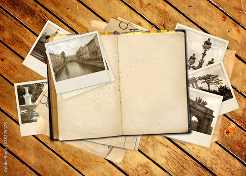 canvas print picture Old book and photos