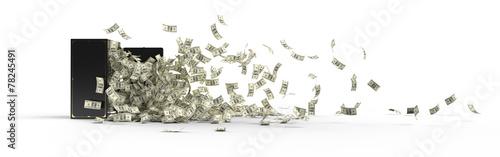 Leinwandbild Motiv safe, dollar and crisis