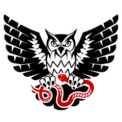 Owl with open wings attacking snake. Black and red tattoo