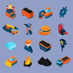 Coal Industry Isometric Set