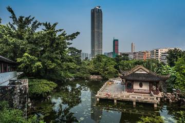 pagoda temple pond Kowloon Walled City Park Hong Kong