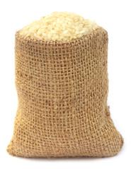 Fresh rice in sack bag