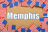 The title Memphis with a border of USA Flags poster