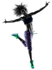 woman zumba dancer dancing exercises silhouette