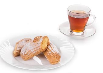 Tasteful Eclair with tea