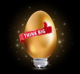 Think big idea concept with bulb and thumbs up sign