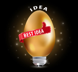 best idea concept with golden egg and thumbs up - vector eps10