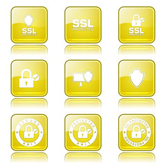 Protection Web Internet Square Vector Yellow Icon Design Set