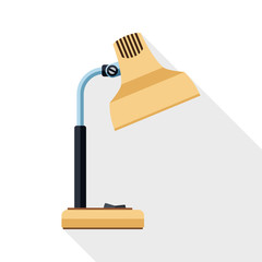 Table lamp icon with long long shadow on white background