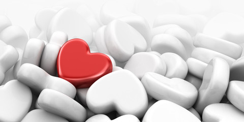 Unique love heart. 3D Illustration