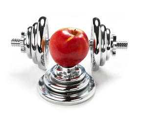 Red apple and dumbbell