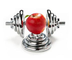 One apple and dumbbell
