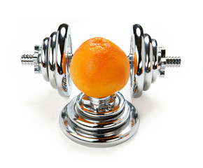 One orange citrus and dumbbell