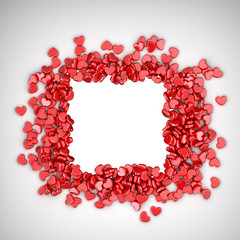 Frame of love hearts 3D. Valentine's day, isolated