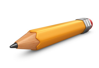 Single pencil. 3D icon isolated on white background