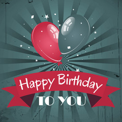 Happy birthday greeting card with red ribbon and balloons