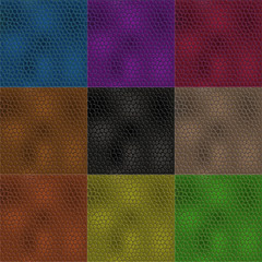 Set of leather textures in different colors