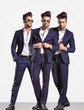 three poses of an elegant smart casual fashion business man