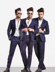 three poses of an elegant smart casual fashion business man