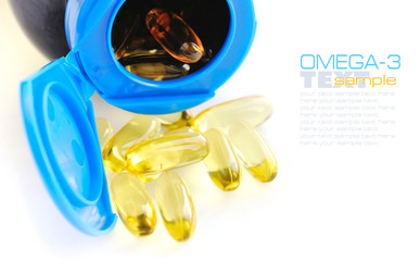 Omega-3 capsules on white background
