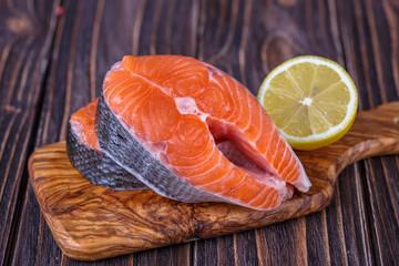 Fresh raw  salmon