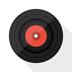 Vinyl record flat icon with long shadow on white background