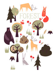Vector set of animals and trees