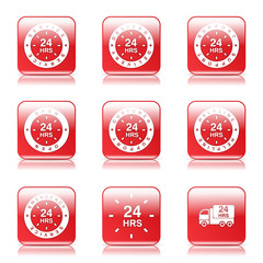 24 Hours Services Square Vector Red Icon Design Set