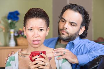 Concerned Husband and Sad Wife