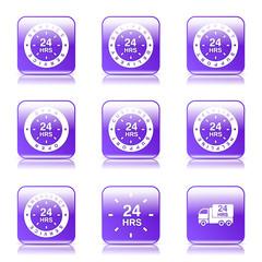 24 Hours Services Square Vector Violet Icon Design Set