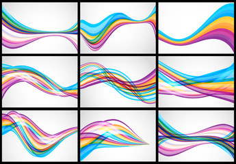 Set of wavy lines, backgrounds.