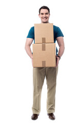 Man with a cardboard box in hand