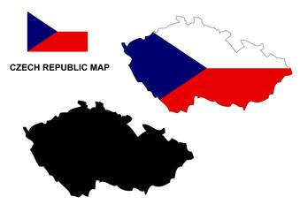 Czech Republic map vector, Czech Republic flag vector