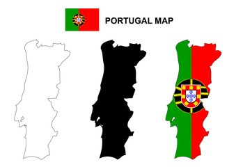 Portugal map vector, Portugal flag vector, Portugal