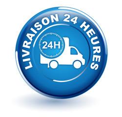 livraison 24 heures sur bouton bleu